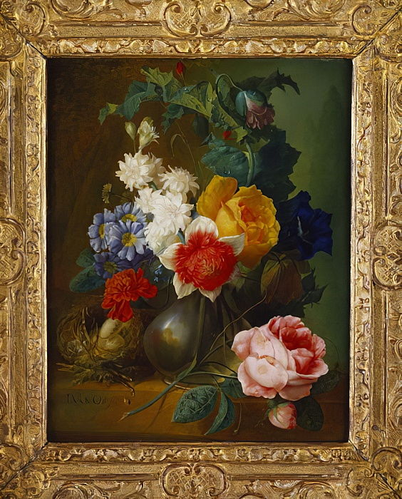 "Roses, poppies, morning glory and other flowers in a vase with a bird""s nest on a ledge by Jan van Os"