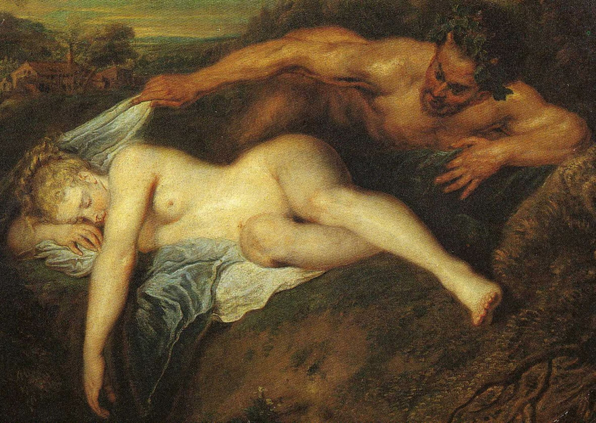 Nymph and Satyr, also known as Jupiter and Antiope, detail by Jean Antoine Watteau
