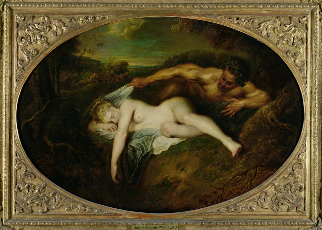 Nymph and Satyr, or Jupiter and Antiope, 1715  by Jean Antoine Watteau