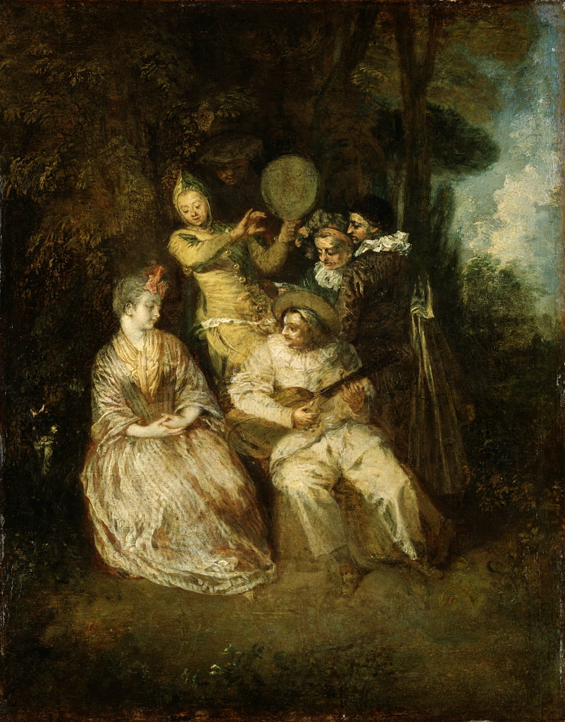 The Italian Serenade  by Jean Antoine Watteau