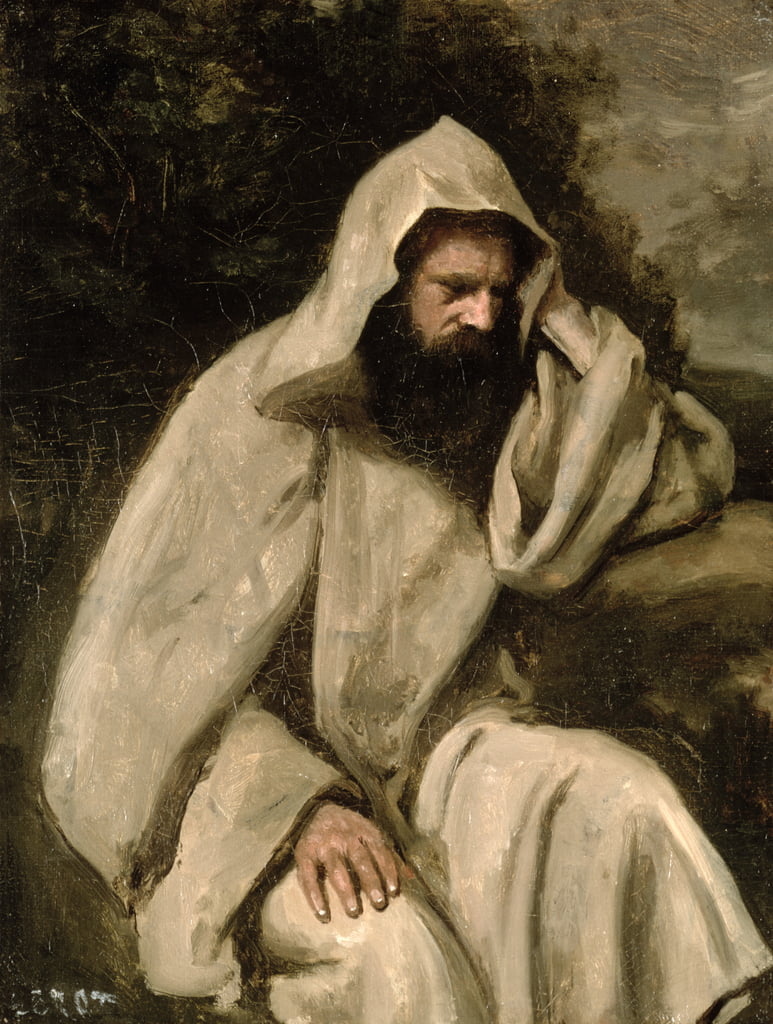 Portrait of a Monk, c.1840-45  by Jean Baptiste Camille Corot