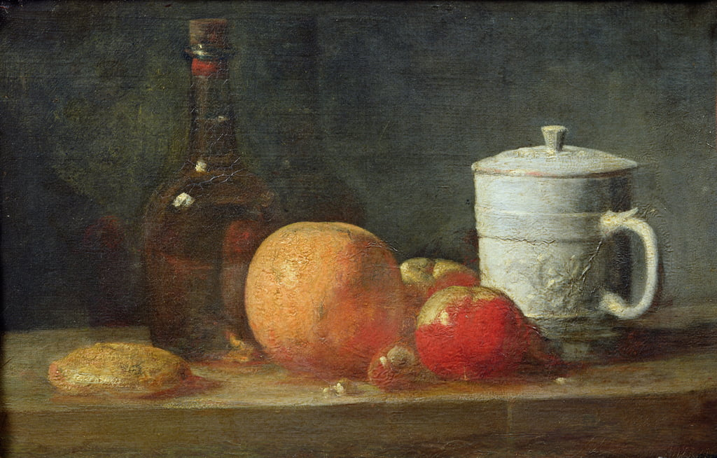 Still Life with Fruit and Wine Bottle  by Jean Baptiste Simeon Chardin