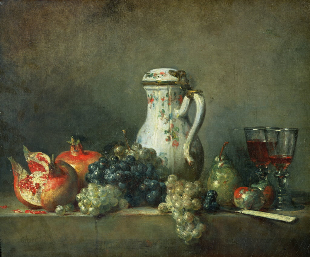 Still Life with Grapes and Pomegranates, 1763  by Jean Baptiste Simeon Chardin
