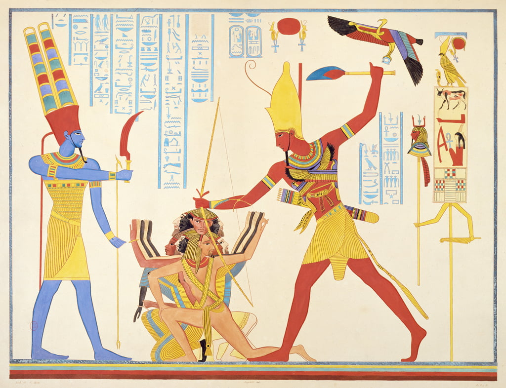 The God Amun offers a sickle weapon to the pharaoh Ramesses III as he strikes two captured enemies, 1835-45  by Jean Francois Champollion