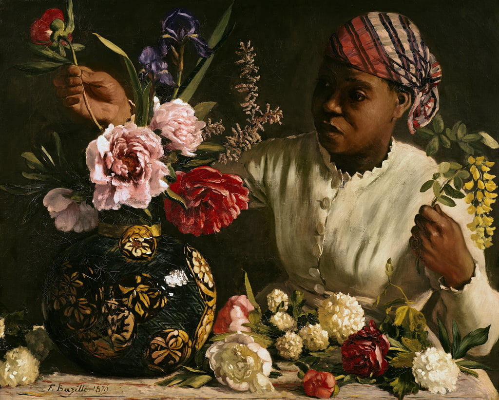 Negress with Peonies, 1870  by Jean Frederic Bazille
