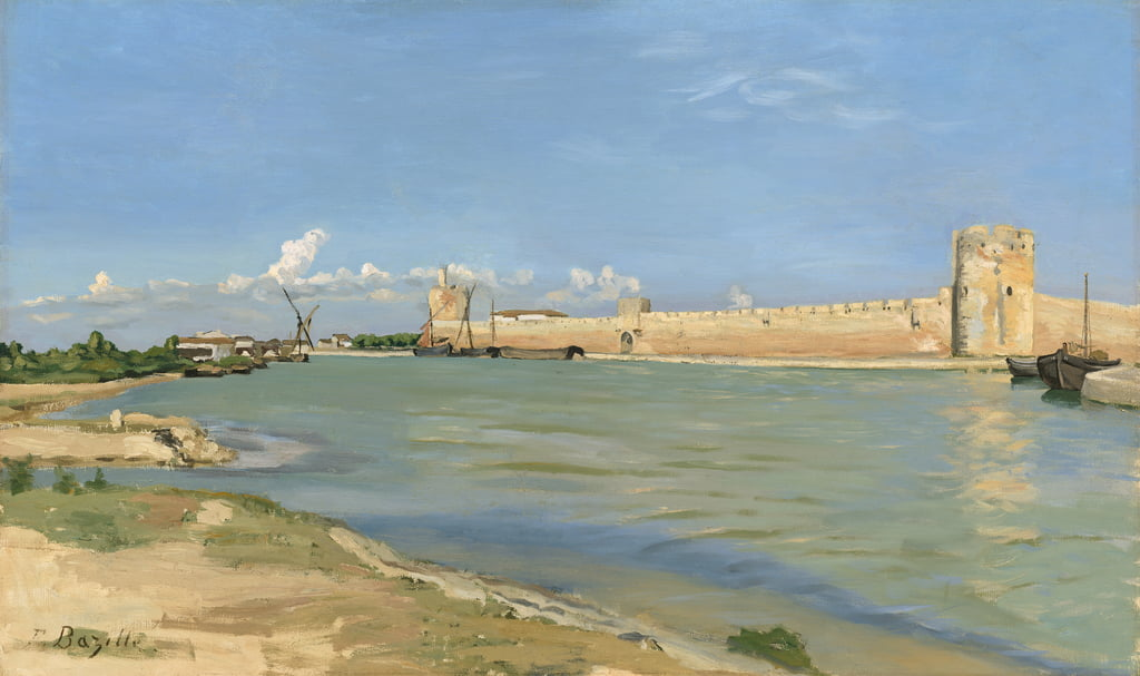 The Ramparts at Aigues-Mortes, 1867  by Jean Frederic Bazille