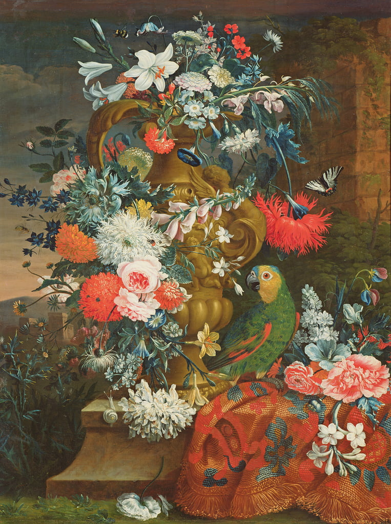Bouquet of flowers and a parrot  by Jean Picart