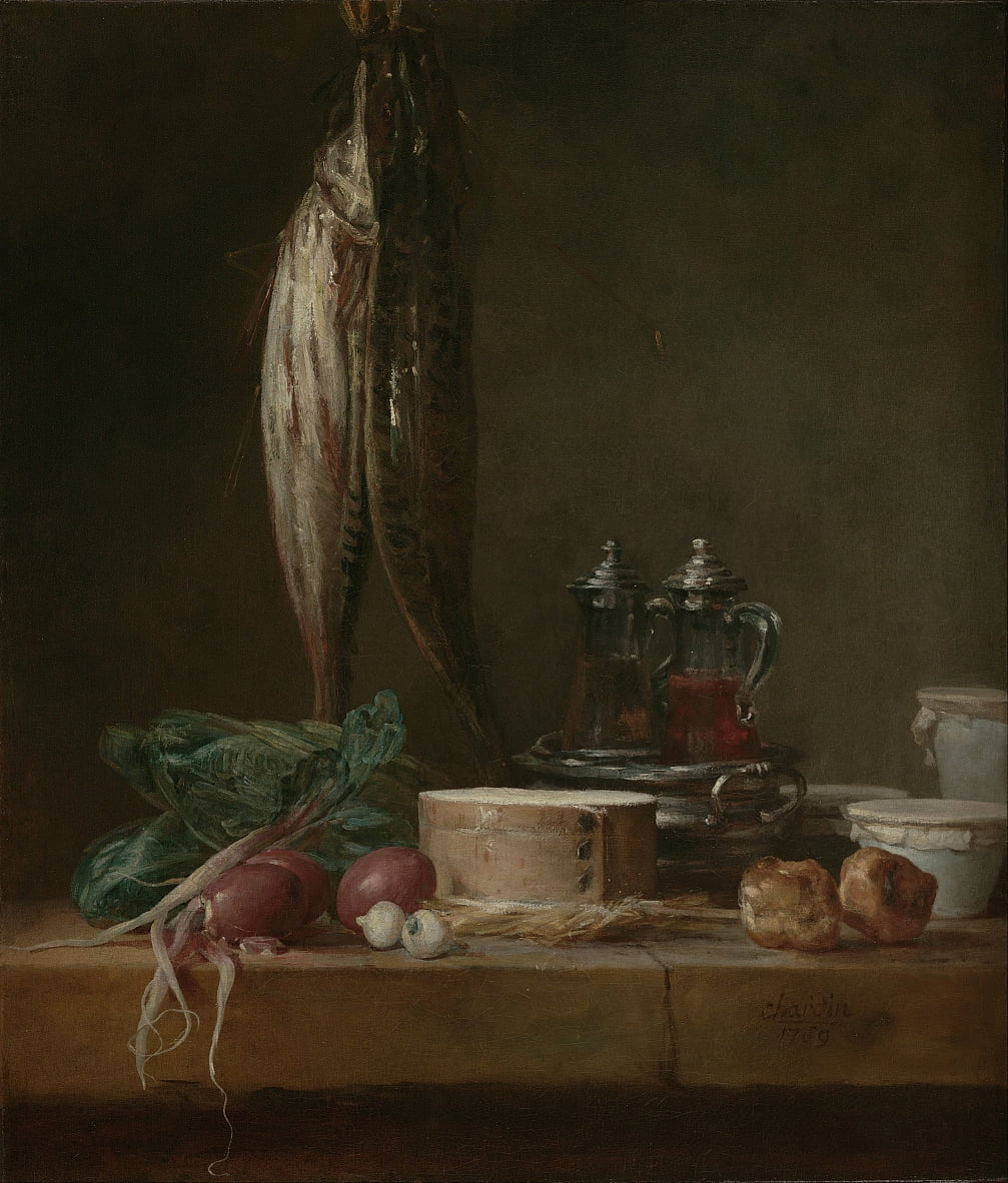 Still Life with Fish, Vegetables, Gougères, Pots, and Cruets on a Table by Jean Baptiste Simeon Chardin