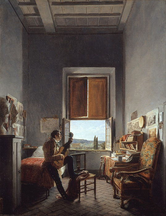 Léon Pallière 1787-1820 in His Room at the Villa Medici, Rome, 1817.  by Jean Alaux