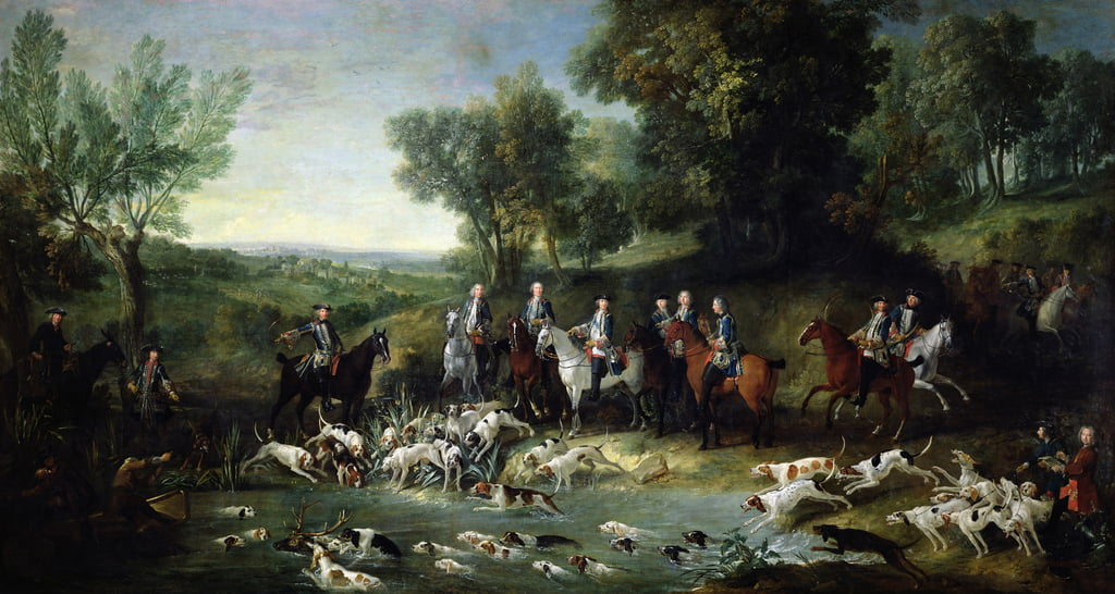 Louis XV (1710-1774) Stag Hunting in the Forest at Saint-Germain, 1730  by Jean Baptiste Oudry