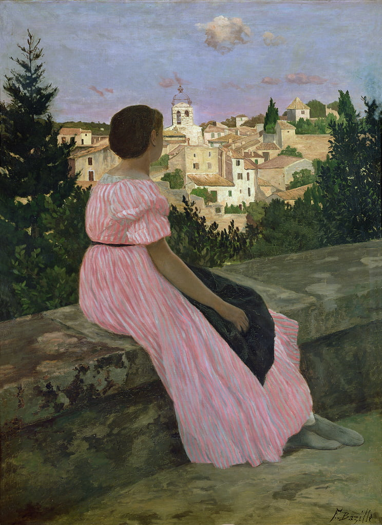 The Pink Dress, or View of Castelnau-le-Lez, Herault, 1864  by Jean Frederic Bazille