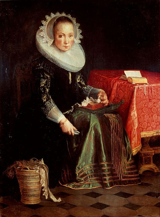 Portrait of Eva Wtewael 1607-1635, 1628 by Joachim Wtewael or Utewael