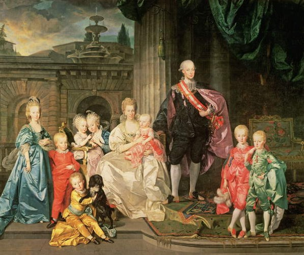 Leopold I, Grand-duke of Tuscany (1747-92) (later Leopold II, Emperor of Austria, 1790-92) with his wife Maria Ludovica and their children including Franz (later Emperor Franz II), 1776 45:Leopold II  by Johan Joseph Zoffany