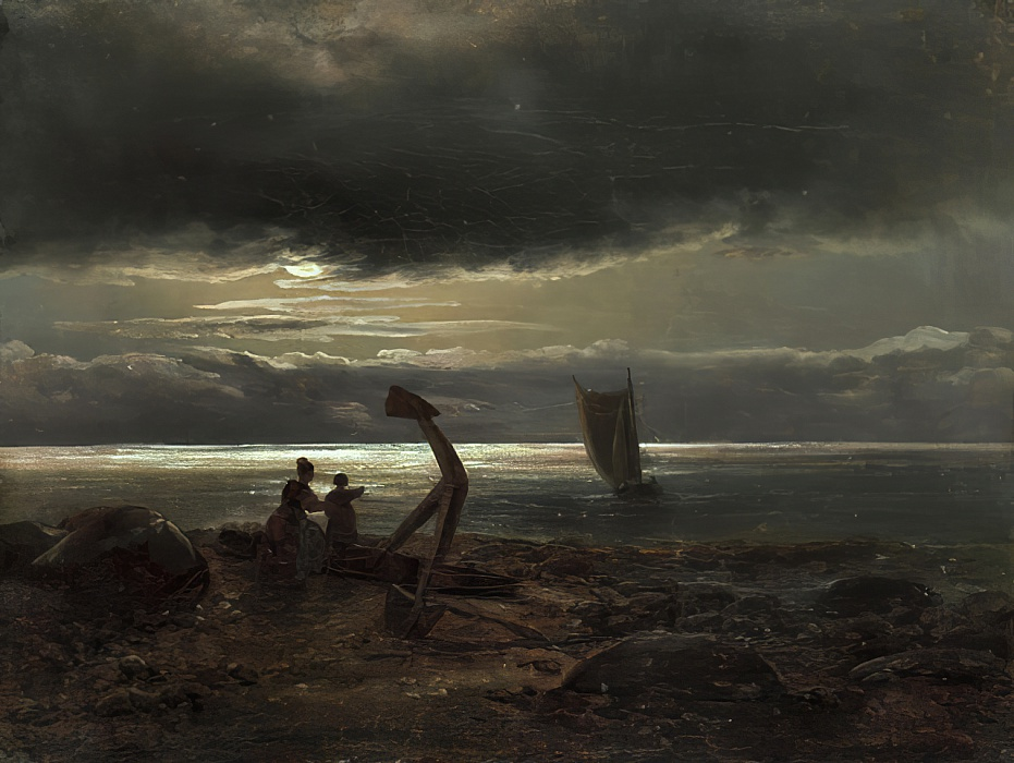 Mother and Child by the Sea by Johan Christian Dahl