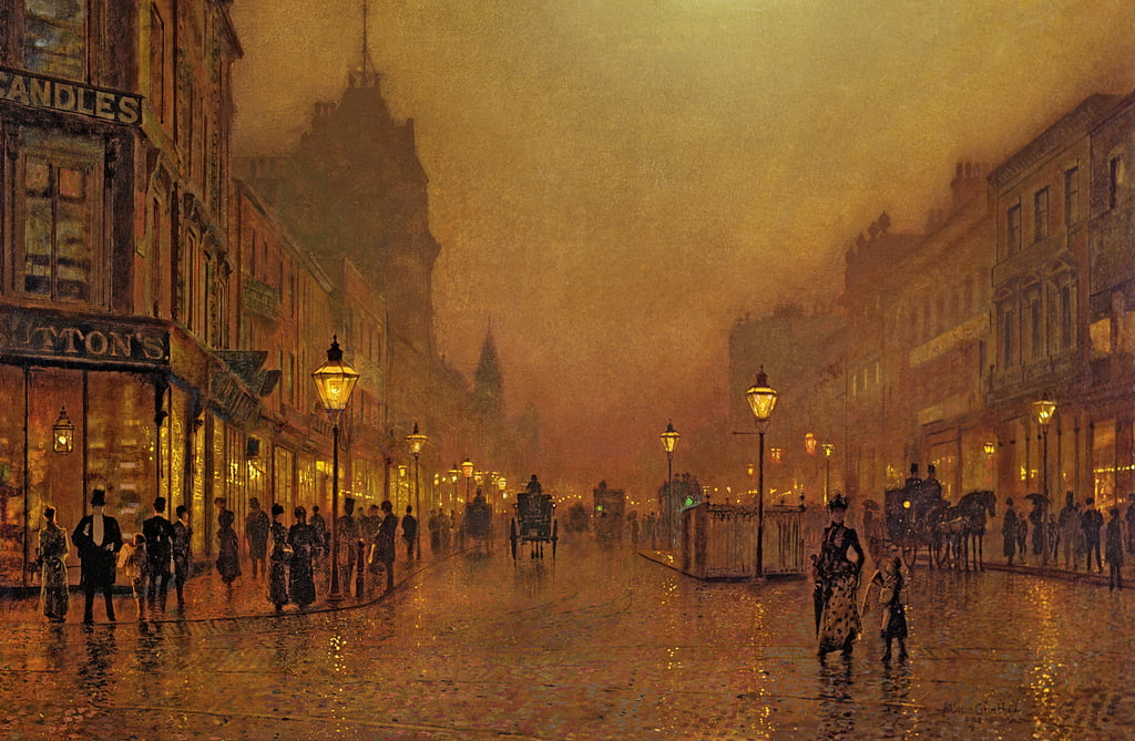 A Street at Night  by John Atkinson Grimshaw