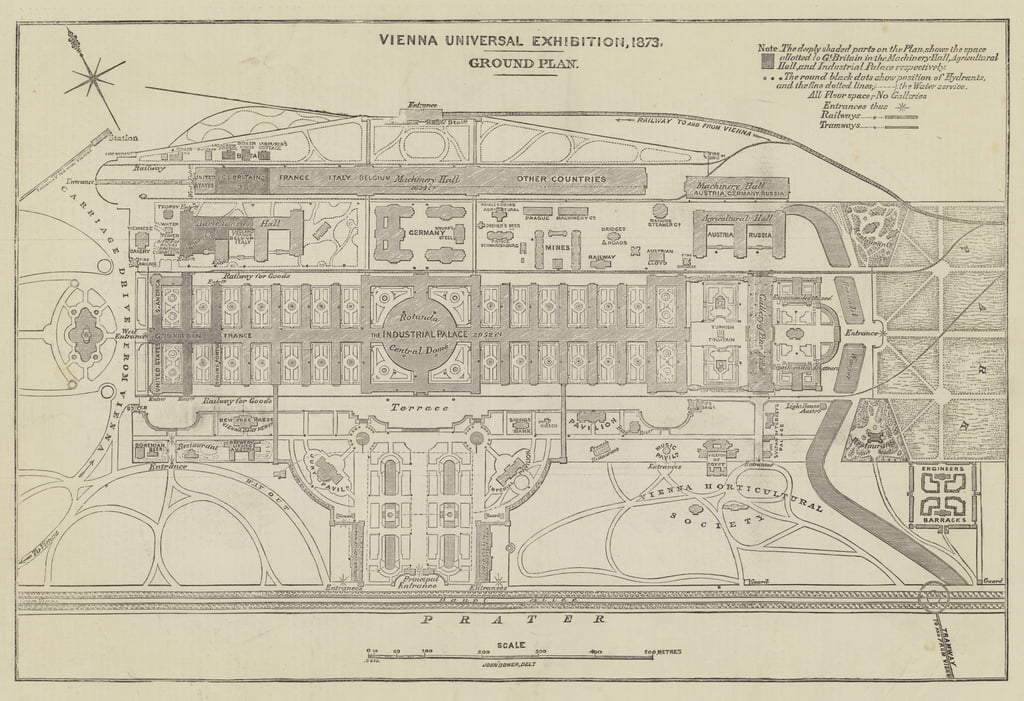 Ground Plan of the Vienna Universal Exhibition, 1873  by John Dower