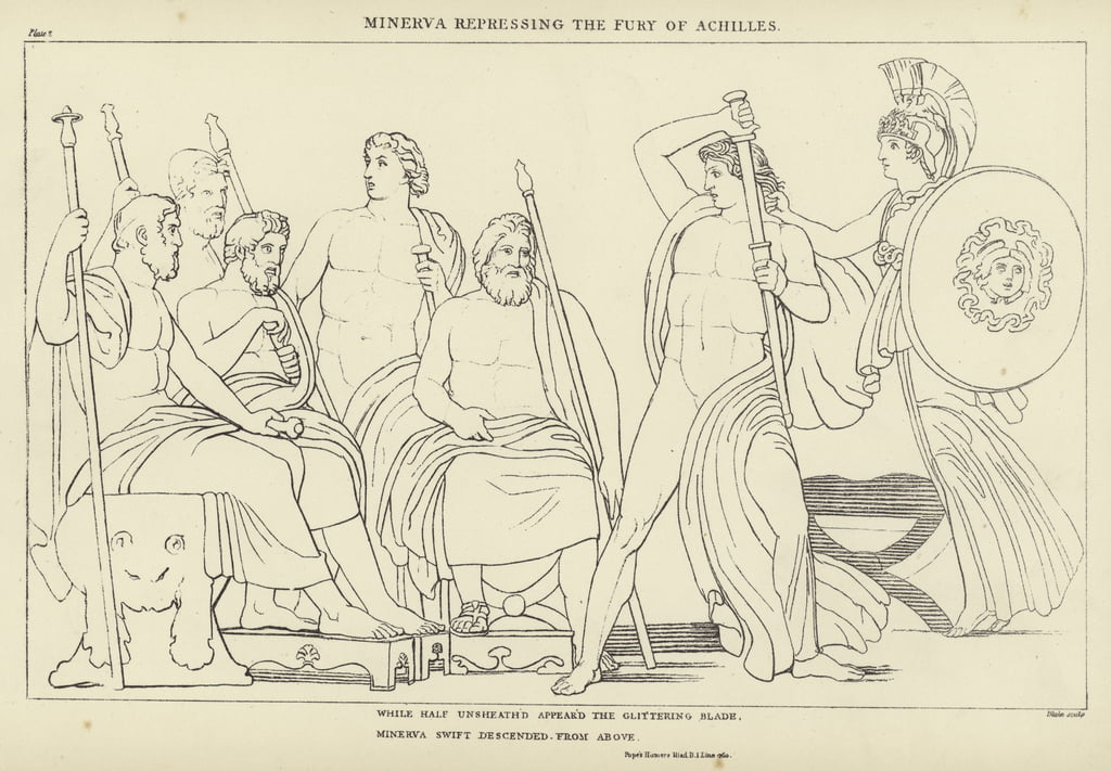 Minerva repressing the Fury of Achilles  by John Flaxman