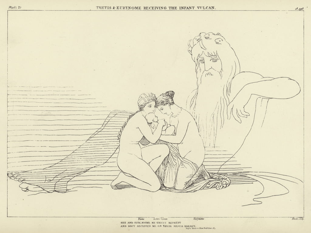 Thetis and Eurynome receiving the Infant Vulcan  by John Flaxman