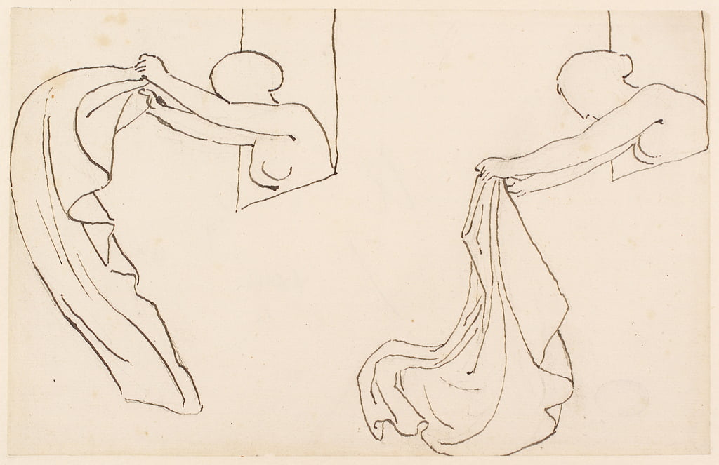 Two Studies of a Girl (pencil, pen und ink on paper) by John Flaxman
