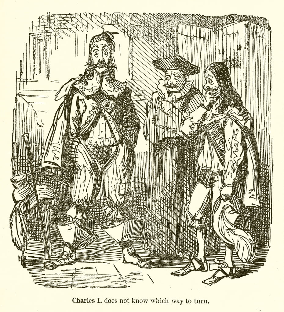 Charles I does not know which Way to Turn  by John Leech