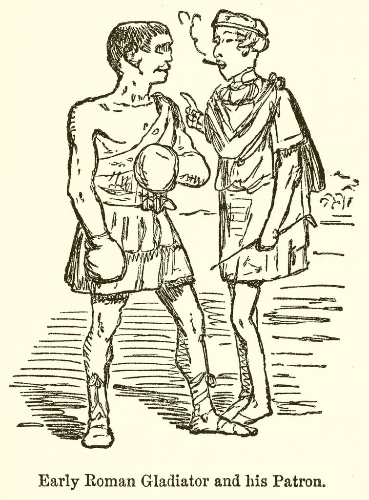 Early Roman Gladiator and his Patron  by John Leech
