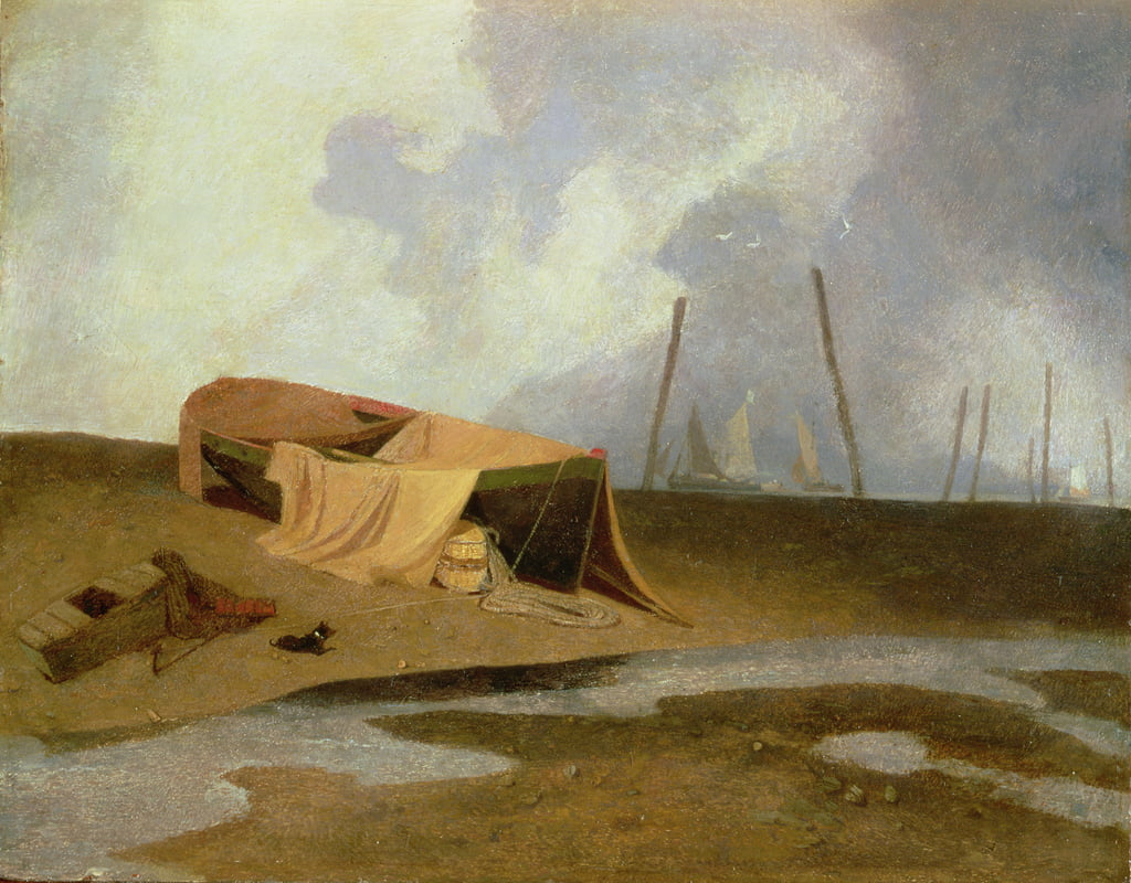 Boats on Greater Yarmouth Beach  by John Sell Cotman