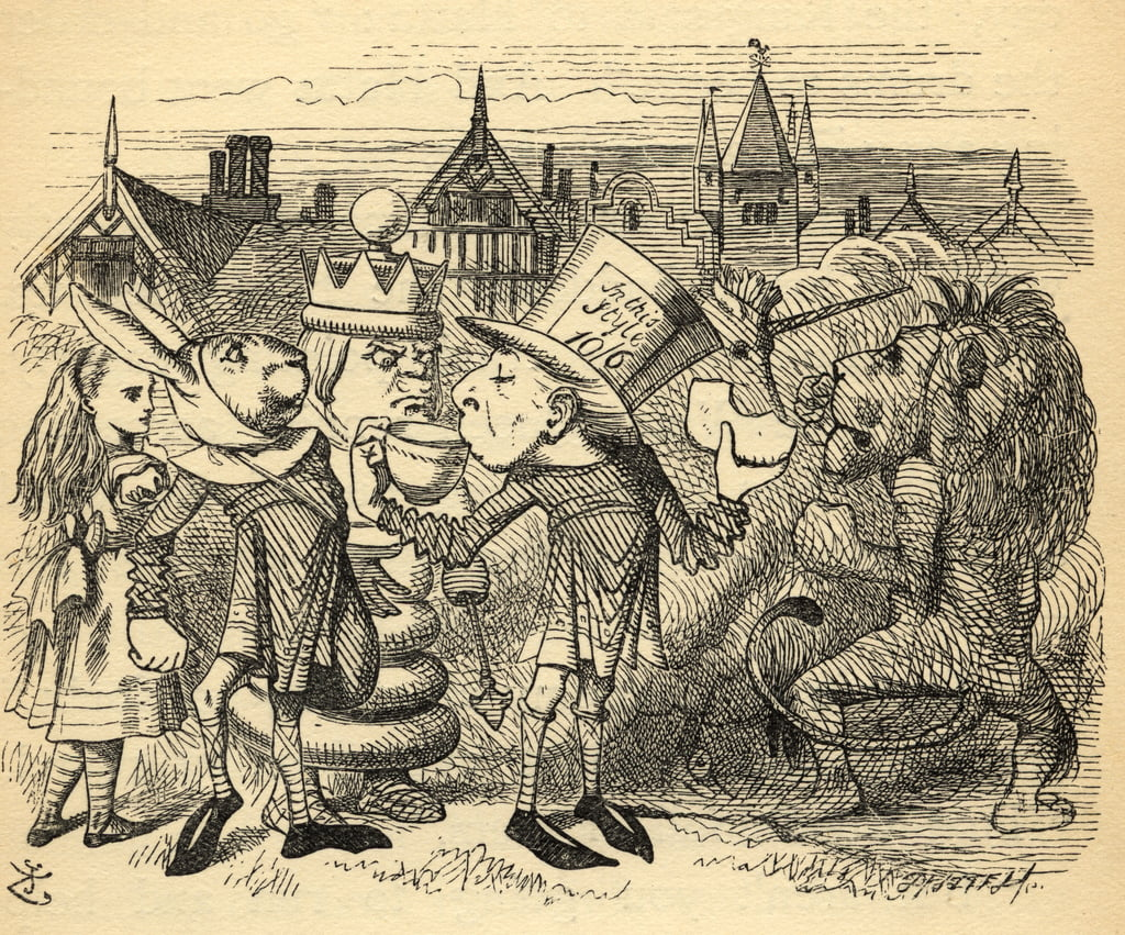 The Mad Hatter, Hare, the King and Alice, illustration from
