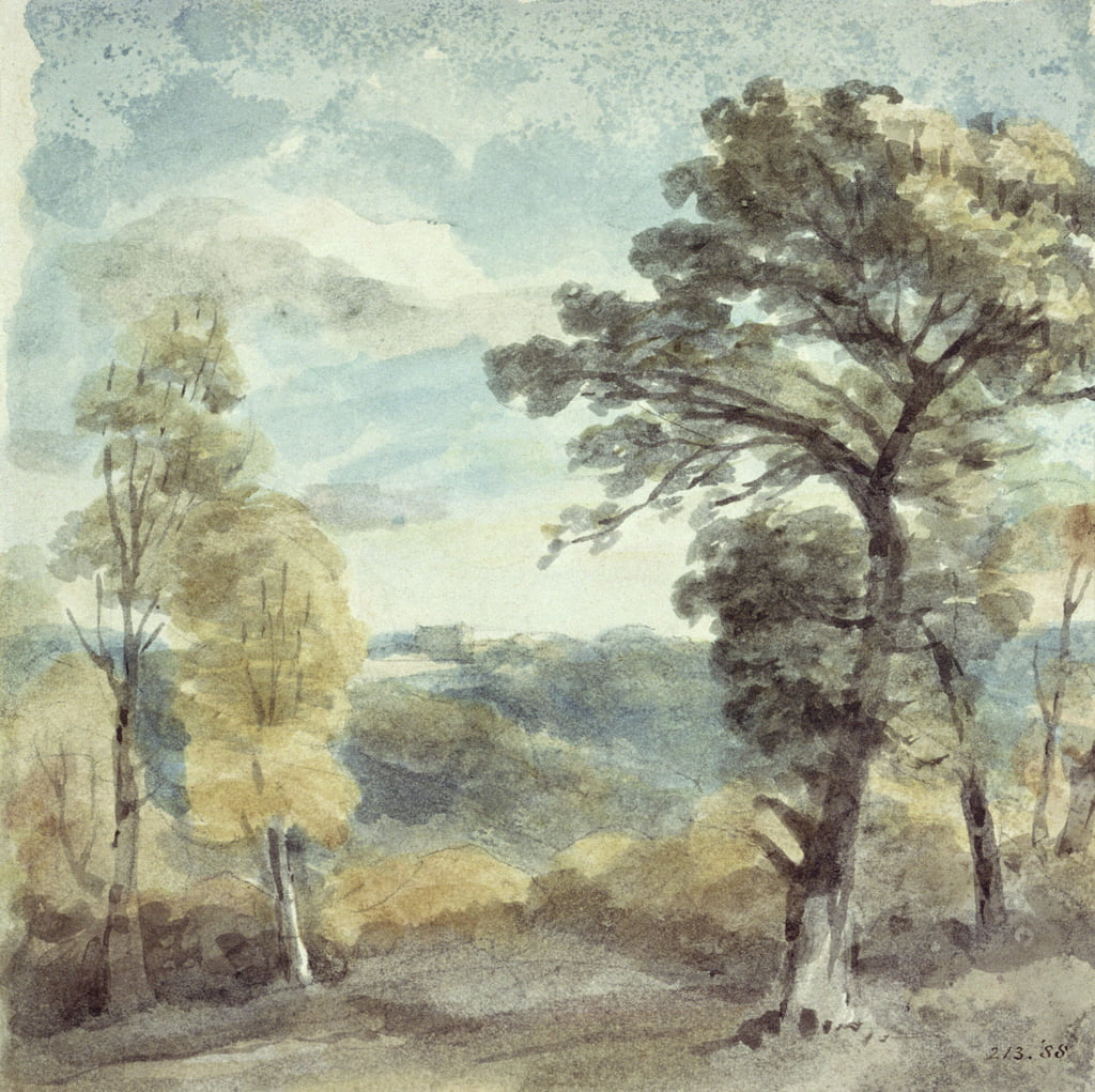 Landscape with Trees and a Distant Mansion (watercolour) by John Constable