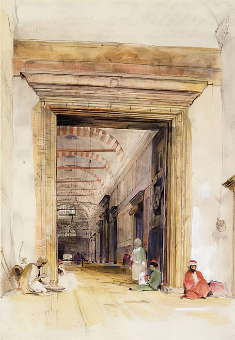 The Great Doorway of the Mosque of Santa Sophia, Constantinople (wc over pencil heightened with bodycolour) by John Frederick Lewis