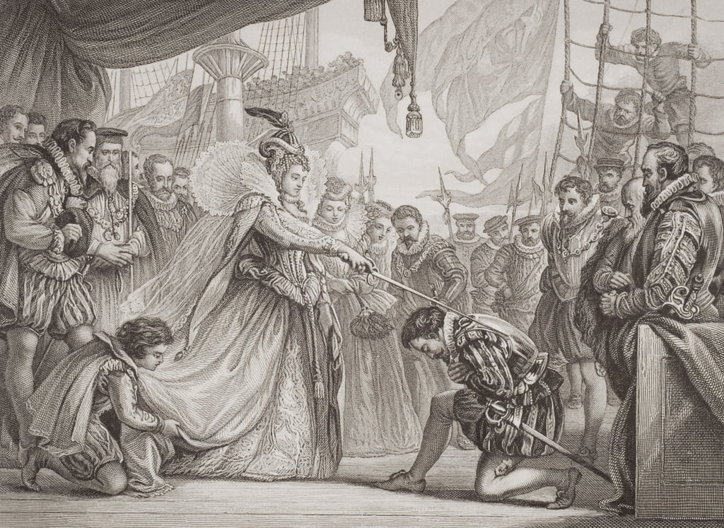 Queen Elizabeth I (1530-1603) knighting Francis Drake (1540-96) from