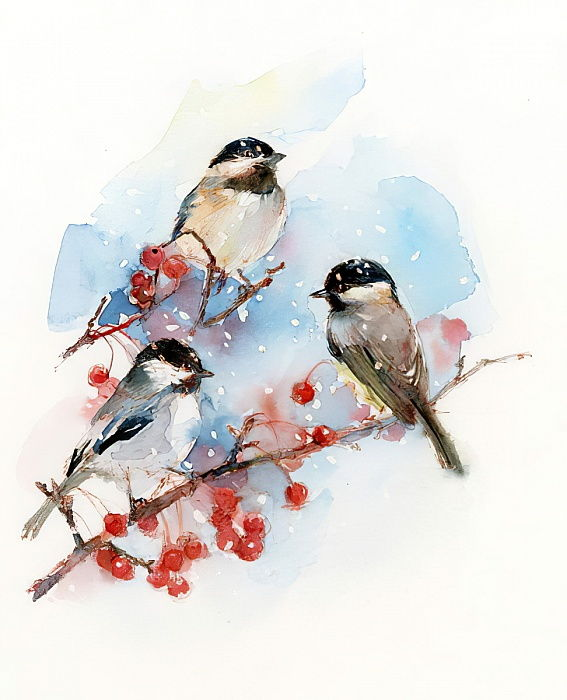 Chickadees with Berries, 2017, (watercolor) by John Keeling