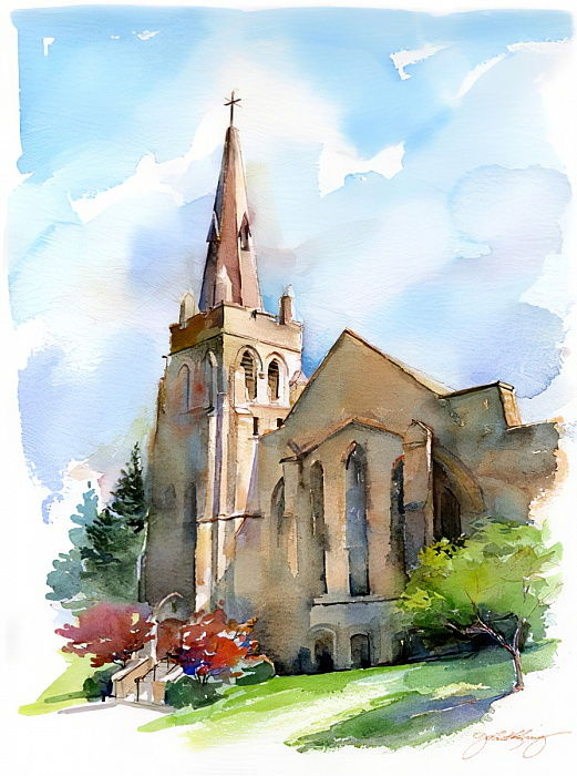 Church with steeple, 2016, (watercolor) by John Keeling