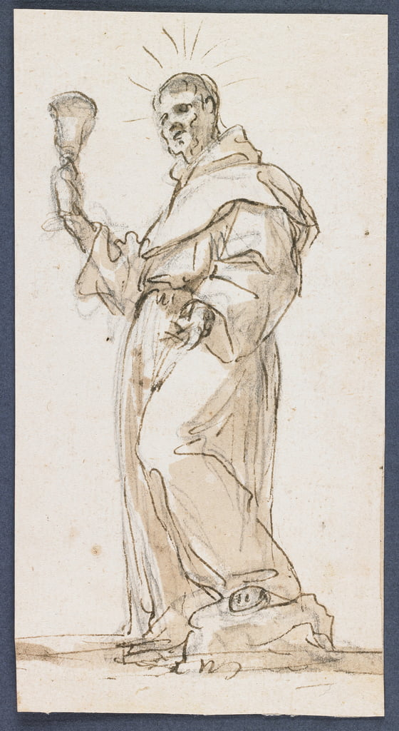 Standing Male Saint Holding a Chalice, late 17th century (pen und brown ink und wash over black chalk) by Jorge Preu