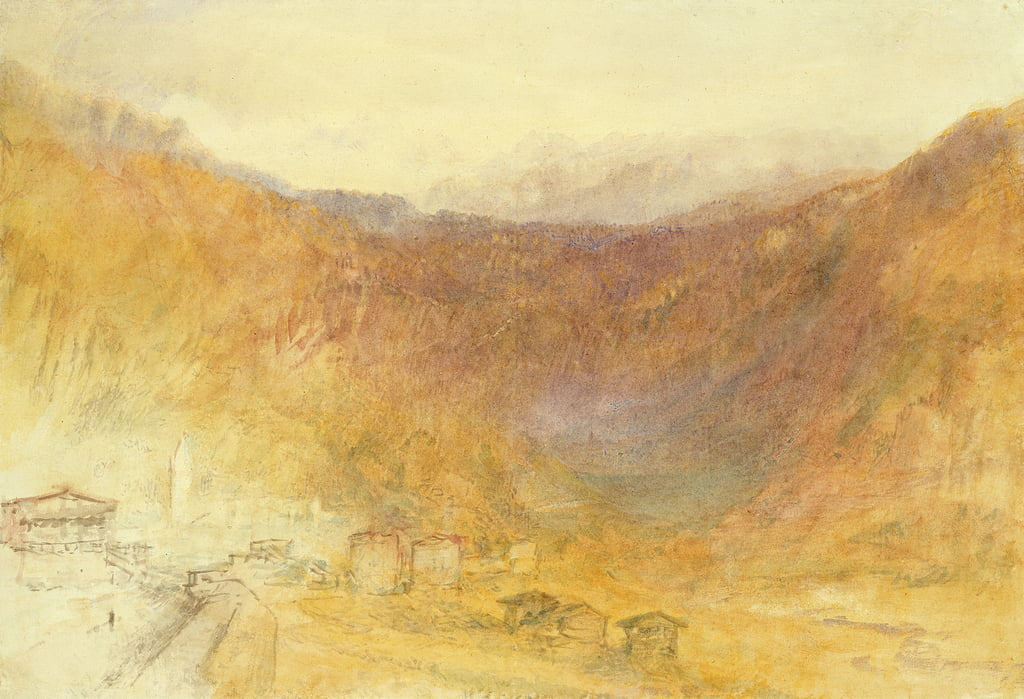 The Brunig Pass from Meiringen, Switzerland (Wc on paper) by Joseph Mallord William Turner