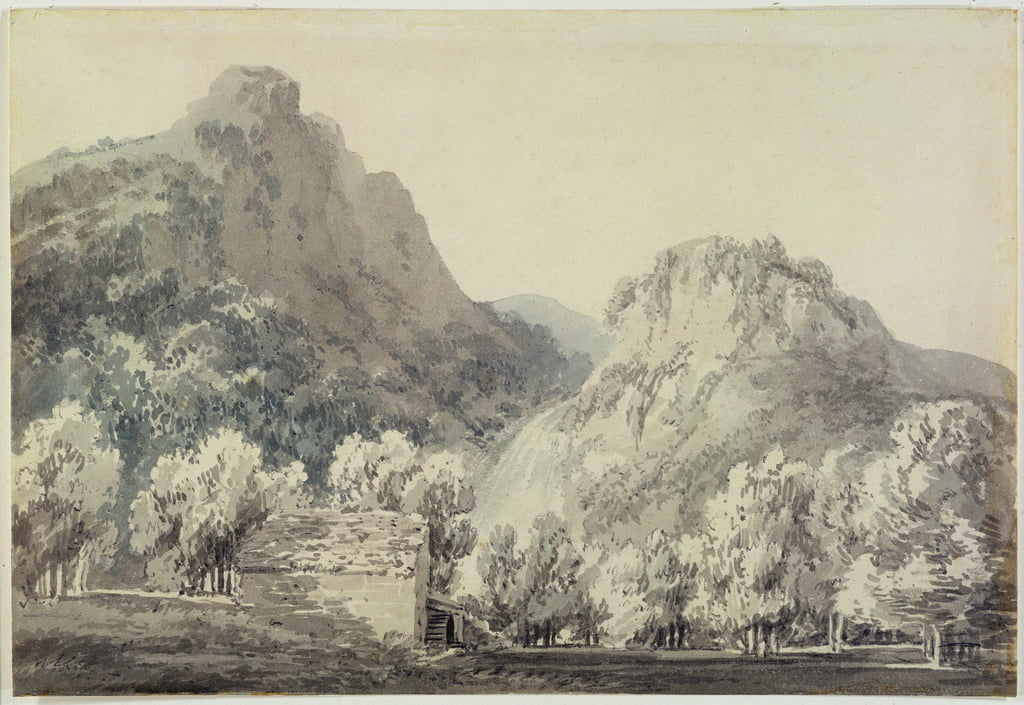 Waterfall at Lodore, Cumberland (grey und blue wash over graphite on paper) by Joseph Mallord William Turner