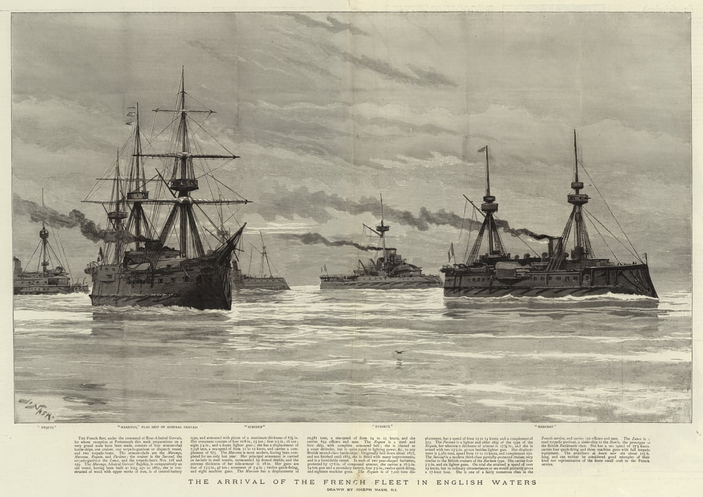 The arrival of the French Fleet in English Waters  by Joseph Nash