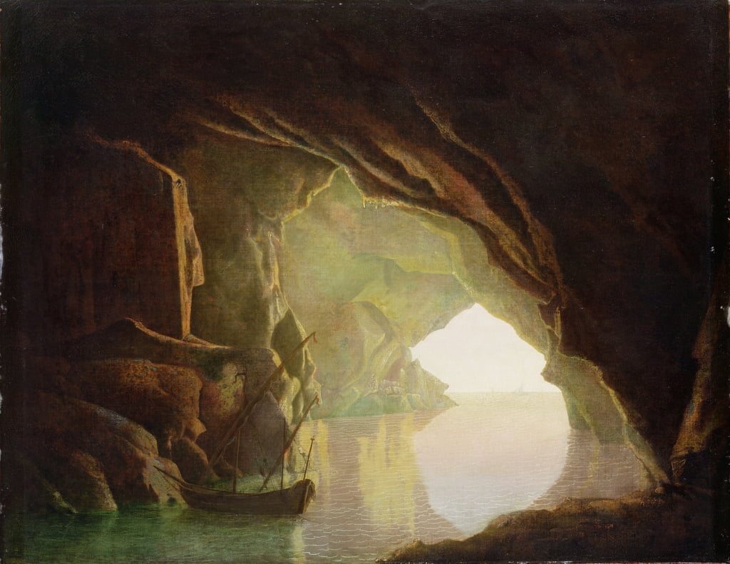 A Grotto in the Gulf of Salerno, Sunset, c.1780-1  by Joseph Wright of Derby