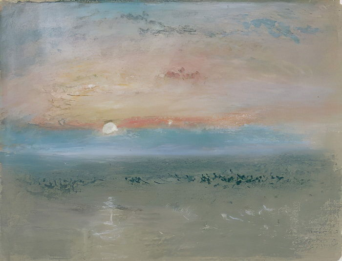 Sunset, c.1830 (wc and gouache on grey paper) by Joseph Mallord William Turner