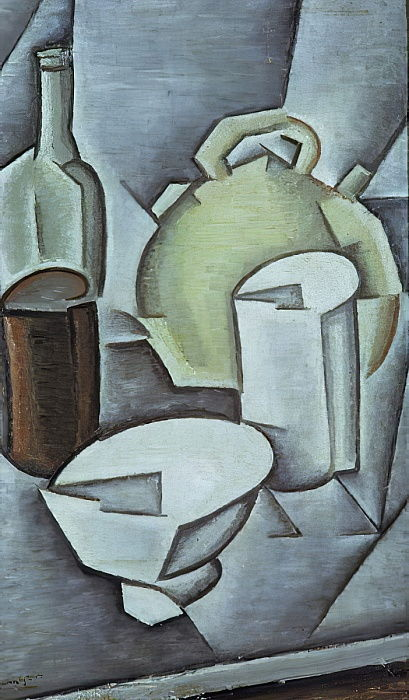 Still Life with a Bottle of Wine and an Earthenware Water Jug, 1911  by Juan Gris