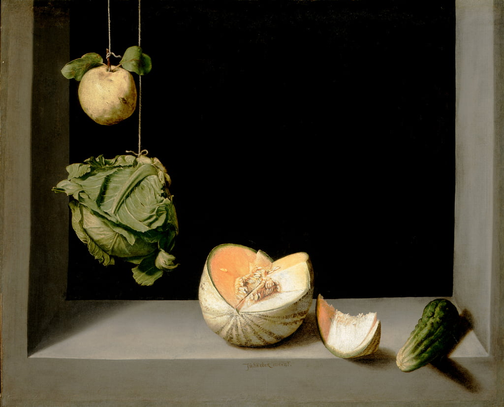 Quince, Cabbage, Melon, and Cucumber, c.1602  by Juan Sanchez Cotan