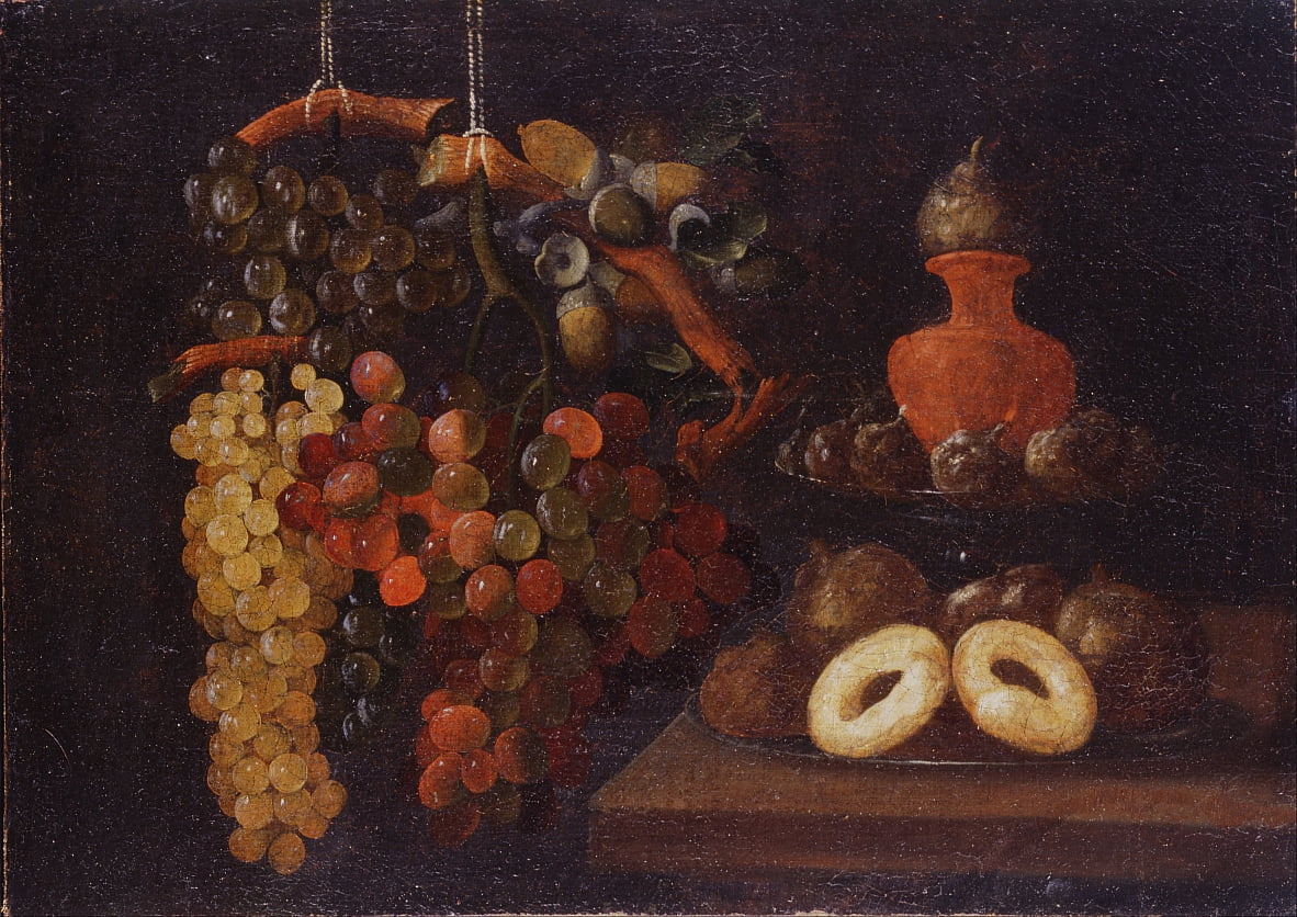 Life Still with grapes and cakes by Juan de Espinosa