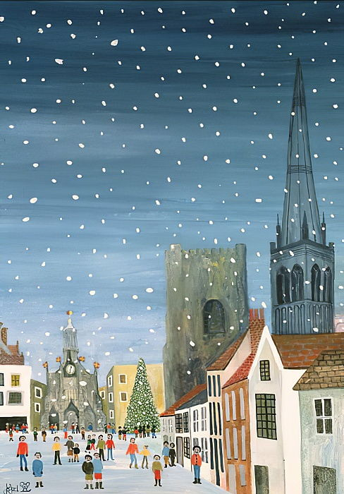 Chichester Cathedral, A Snow Scene  by Judy Joel