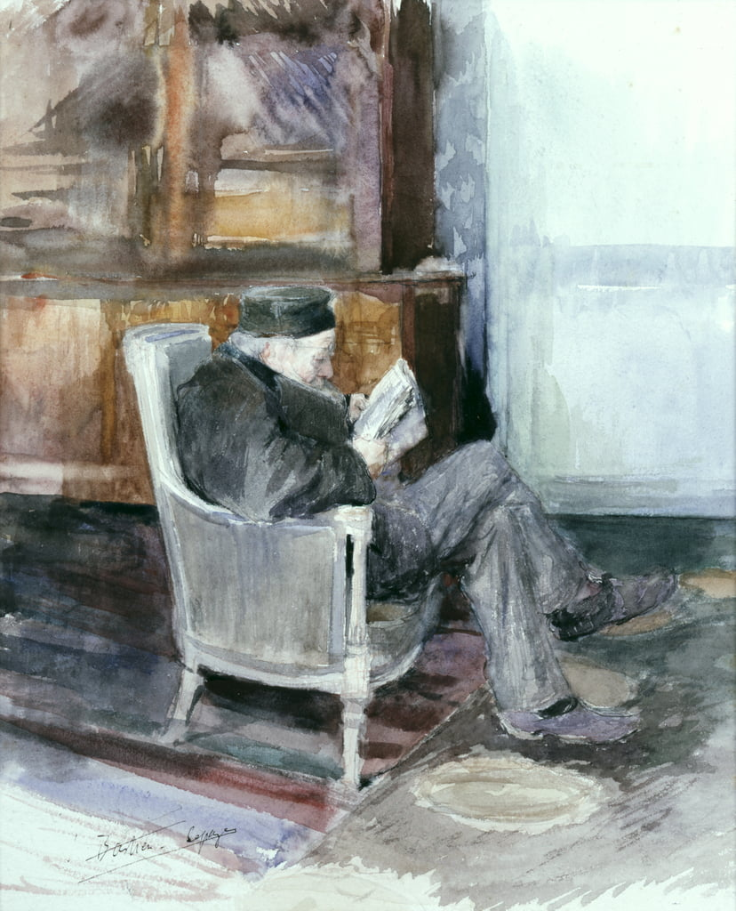 Old man sitting in an armchair (watercolour) by Jules Bastien Lepage