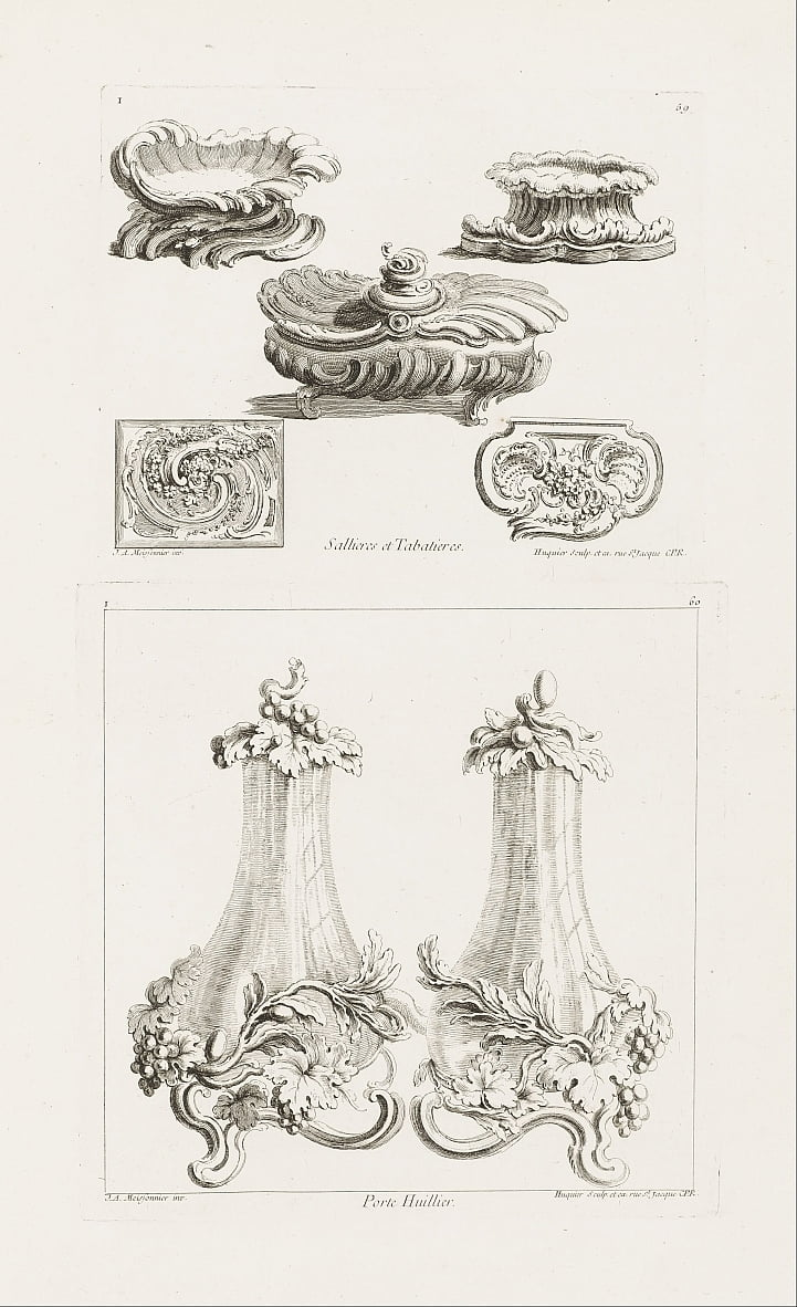 Sallieres et Tabatières (Salt Dishes and Snuff Boxes), plate 69 in Oeuvres de Juste-Aurèle Meissonni... by Juste Aurèle Meissonnier