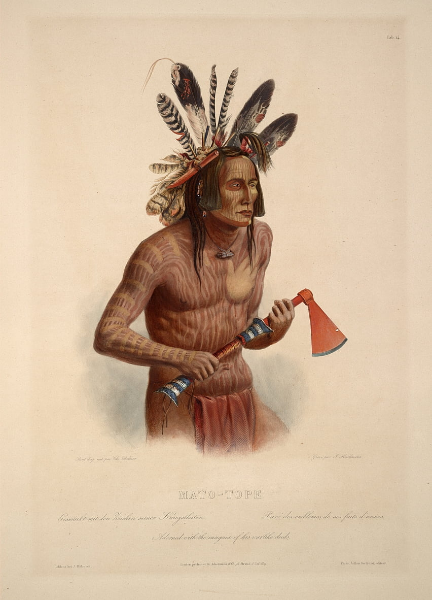Mato-Tope adorned with the insignia of his warlike deeds by Karl Bodmer