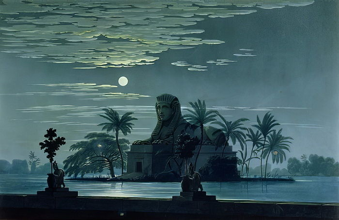 Garden scene with the Sphinx in moonlight, Act II scene 3, set design for
