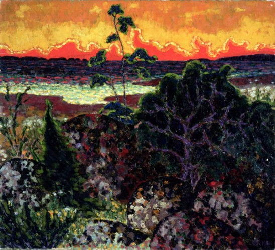 Landscape with a Red Cloud, 1913-14  by Konrad Magi