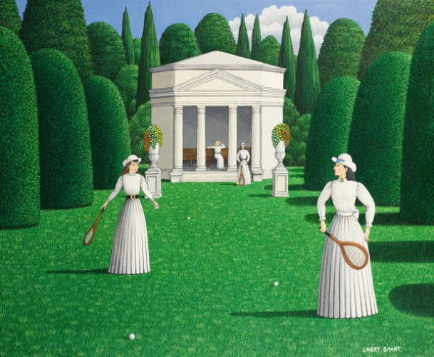 Edwardian Ladies Playing Tennis, 1978 (acrylic on linen) by Larry Smart