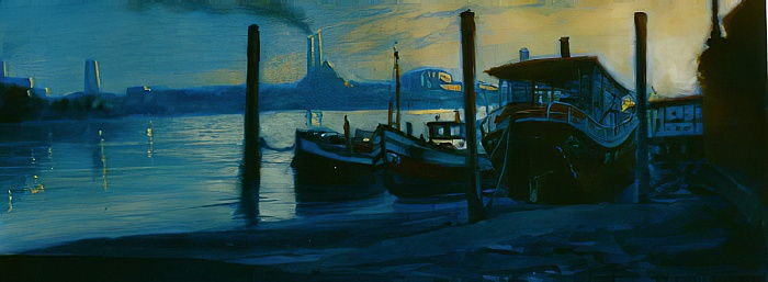 Chelsea Dusk 2002 (oil on paper)Thames houseboats by Lee Campbell