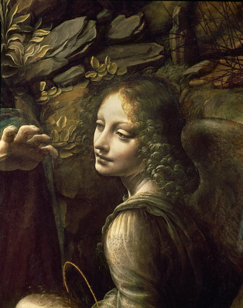 Detail of the Angel, from The Virgin of the Rocks (The Virgin with the Infant St. John adoring the Infant Christ accompanied by an Angel), c.1508  by Leonardo da Vinci